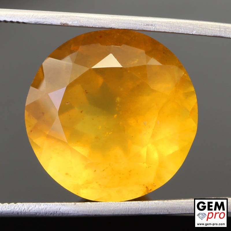 16.07ct Fire Opal AA Quality Round Cut 17 x 17 mm Natural Gemstone from Madagascar