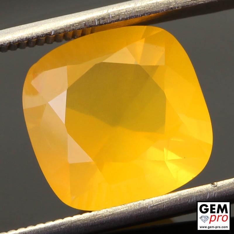 Opale de Feu Jaune AAA 4.99 carats Taille Coussin Gemme de Madagascar