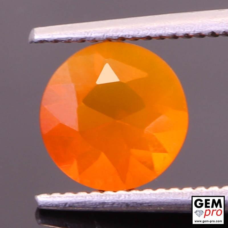Opale de Feu Orange AAA 0.90 carat Taille Ronde Gemme de Madagascar