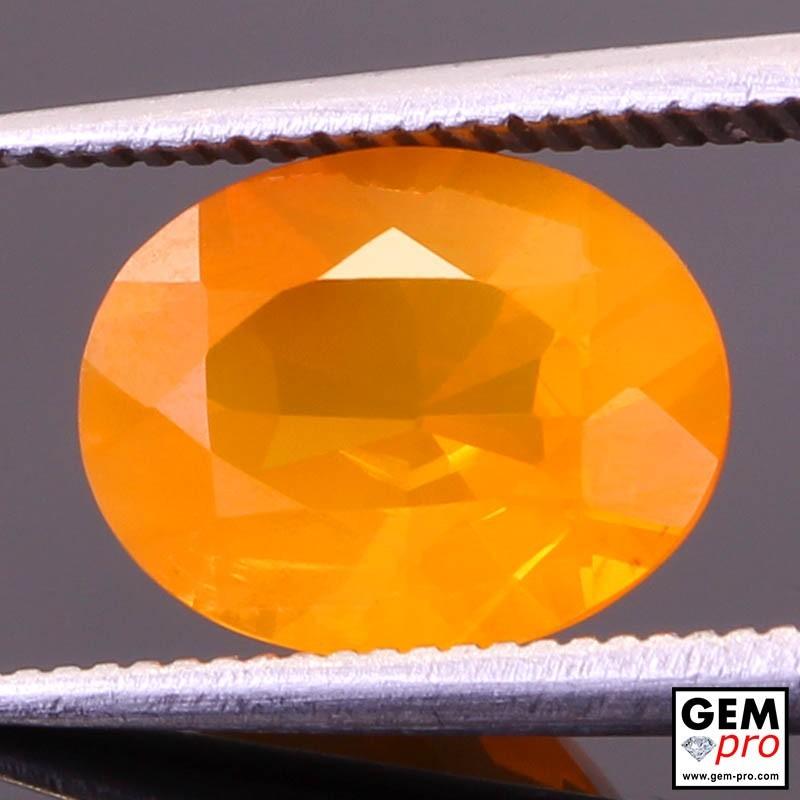 Opale de Feu Orange AAA 1.86 carat Taille Ovale Gemme de Madagascar