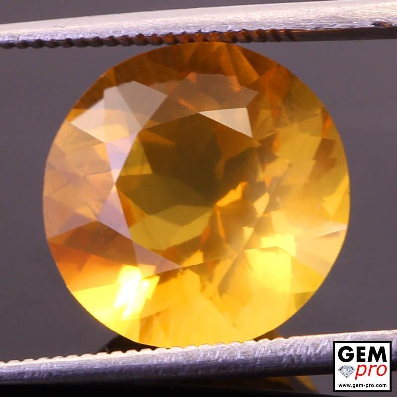 Opale de Feu Orange AAA 6.27 carat Taille Ronde Gemme de Madagascar