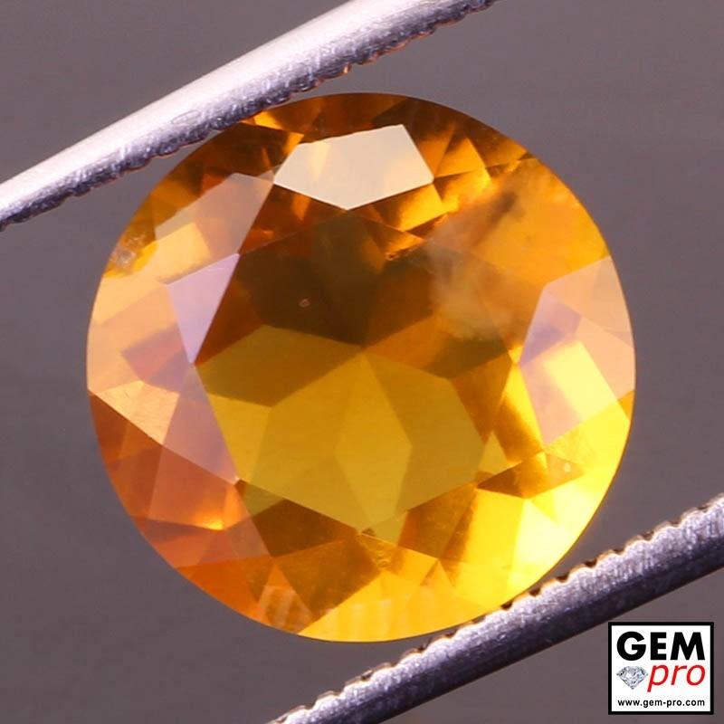 Opale de Feu Orange AAA 3.30 carat Taille Ronde Gemme de Madagascar
