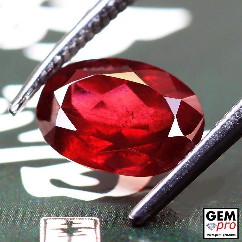 Red Almandine Garnet 2.79 Carat Oval from Madagascar Gemstones