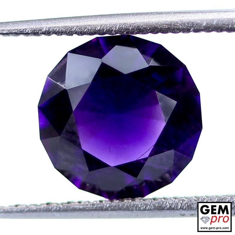 Violet Amethyst 2.9ct Round from Madagascar Natural and Untreated Gemstone