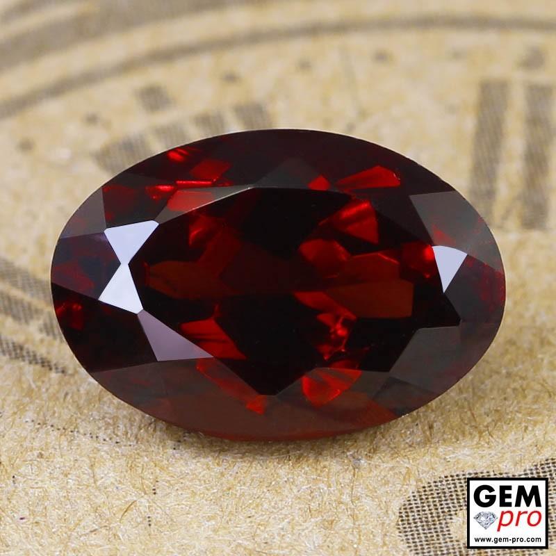 Red Almandine Garnet 4.11 Carat Oval from Madagascar Gemstones