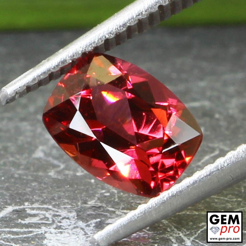 Red Almandine Garnet 1.47 Carat Cushion from Madagascar Gemstones