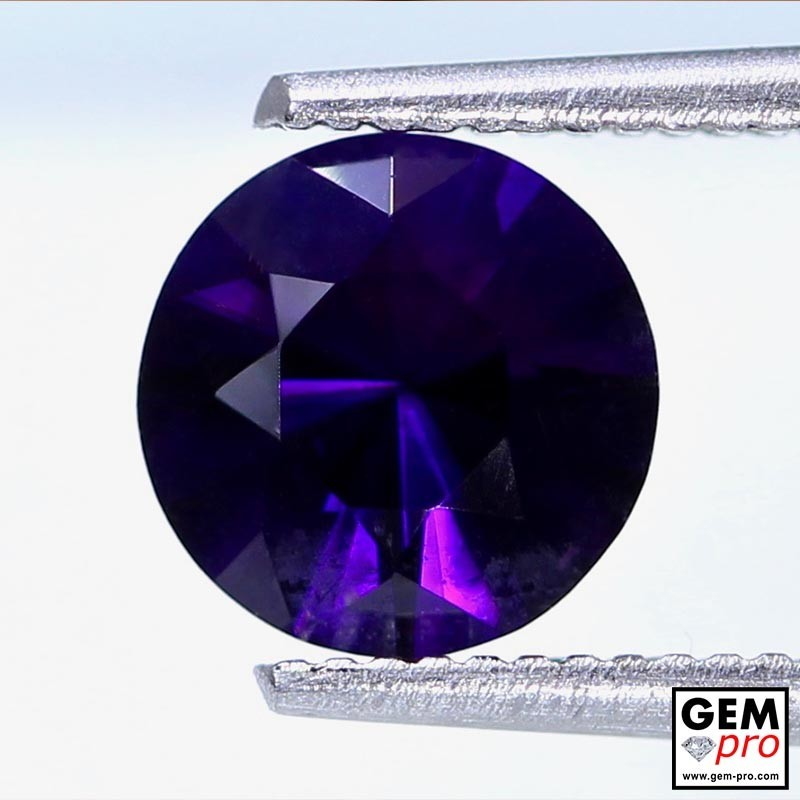 Violet Amethyst 1.0ct Round from Madagascar Natural and Untreated Gemstone