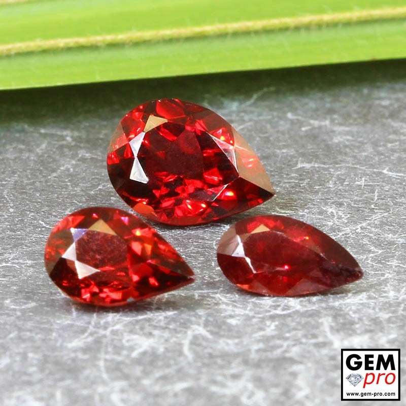 Red Almandine Garnet 4.70 Carat (3 pcs) Pear from Madagascar Gemstones