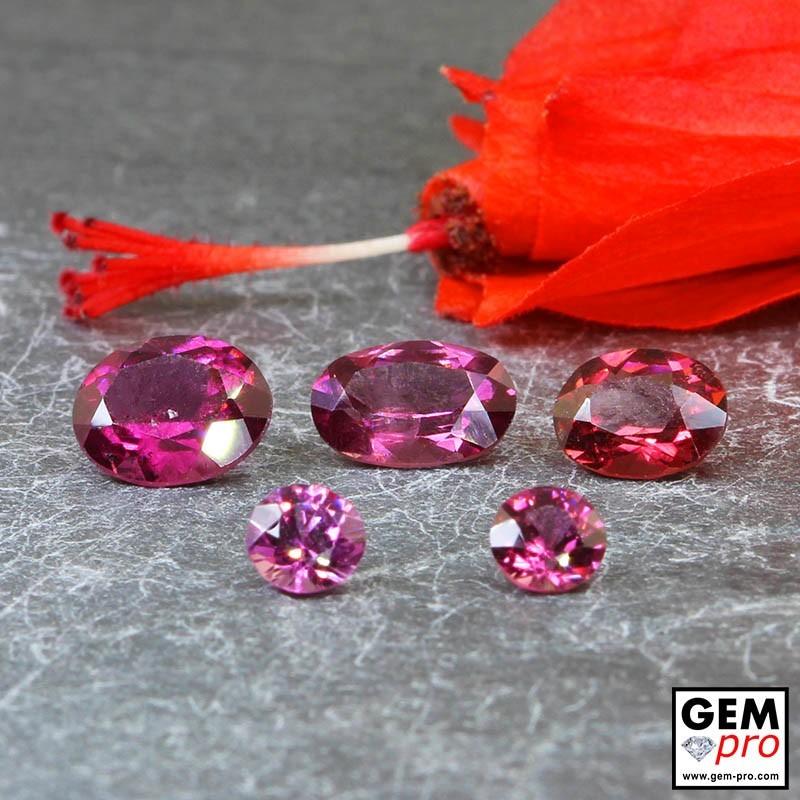 5.55ct Almandine Garnet 5pc Lot Oval Cut Natural Gemstone from Madagascar