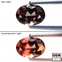 1.27ct Oval 7.3x5.3 mm Color Change Garnet Gemstone