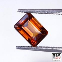 1.85 Carat Grenat Hessonite Orange Octogonal Gemme de Madagascar