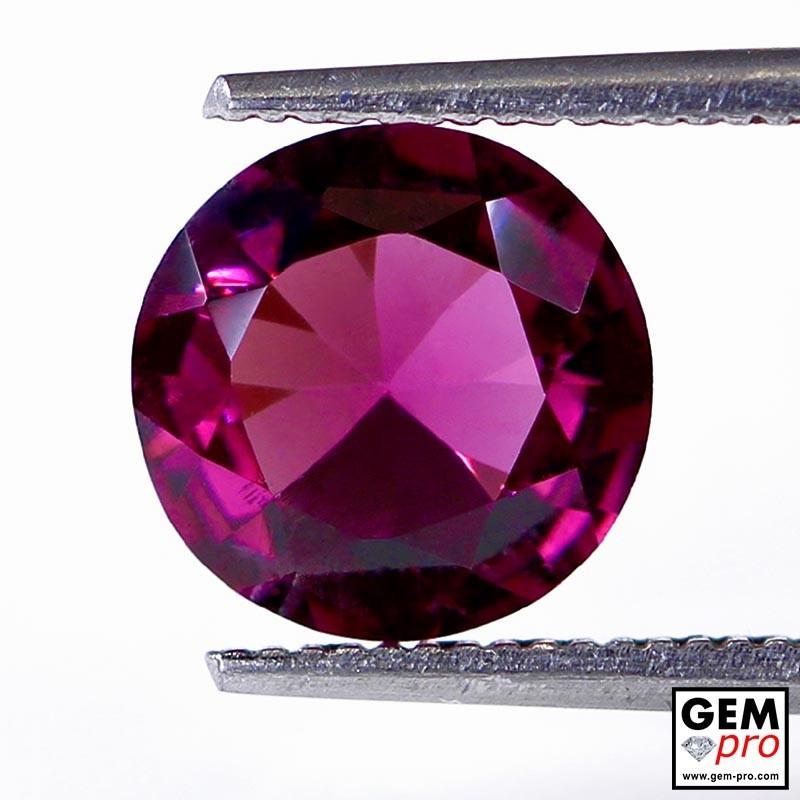 """2.33 carat Round 6.3x6.3 mm Natural and Untreated Pink """"Ampanihy"""" Rhodolite Garnet Gemstone"""