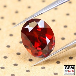 Red Almandine Garnet 2.20 Carat Oval from Madagascar Gemstones