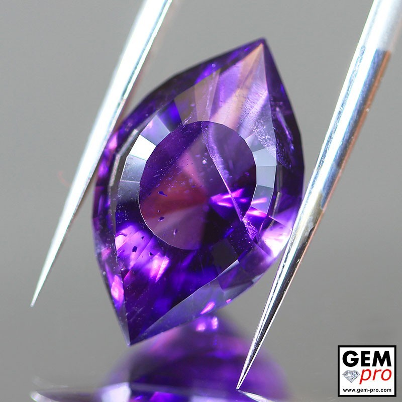 Violet Amethyst 7.76ct Precision Cut Cleopatra Eye from Madagascar Natural and Untreated Gemstone