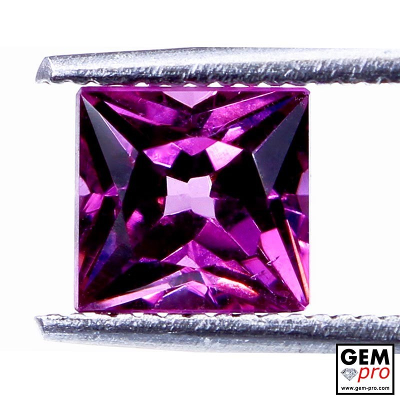"1.57 carat Princess-Cut 6.1x5.8 mm Natural and Untreated Pink ""Ampanihy"" Rhodolite Garnet Gemstone"