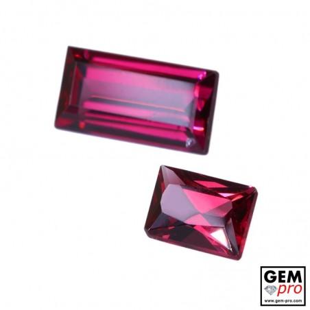 "3.06 carat Octagon/Baguette (2 pcs) Natural and Untreated Pink ""Ampanihy"" Rhodolite Garnet Gemstone"