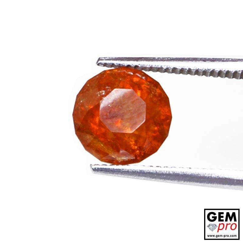 3.14ct Spessartine Garnet Round Cut 8 x 8 mm Natural Gemstone from Madagascar