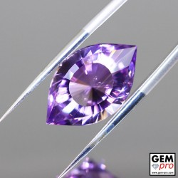 Violet Amethyst 8.1ct Precision Cut Cleopatra Eye from Madagascar Natural and Untreated Gemstone