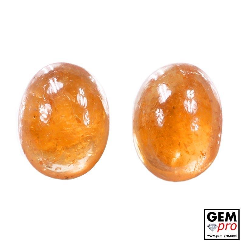 4.58 Carat Orange Spessartite Garnet (2 pcs) Gem from Madagascar Natural and Untreated