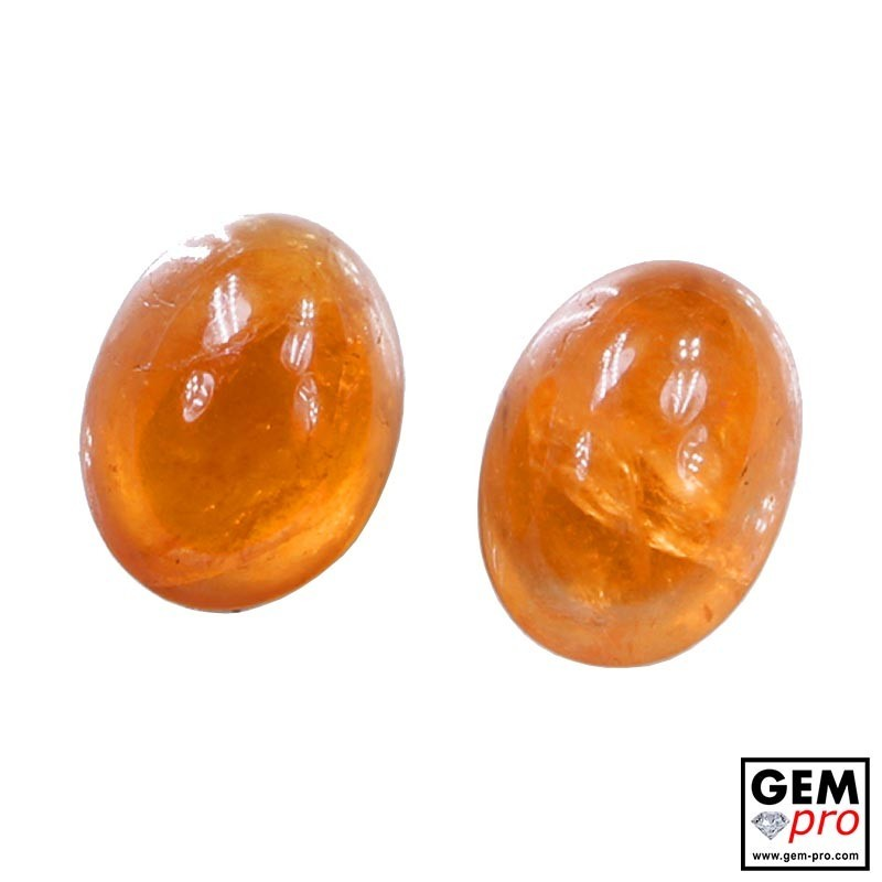 4.94 Carat Orange Spessartite Garnet (2 pcs) Gem from Madagascar Natural and Untreated