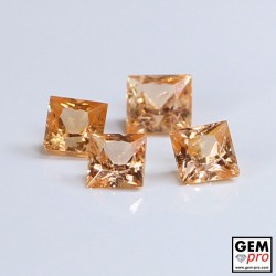 0.98 Carat Orange Spessartite Garnet (4 pcs) Gem from Madagascar Natural and Untreated