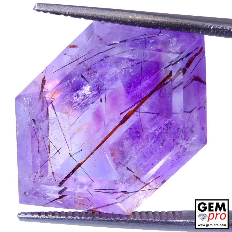 Amethyst inclusions 20.97ct Hexagonal Cut from Madagascar Natural and Untreated Gemstone