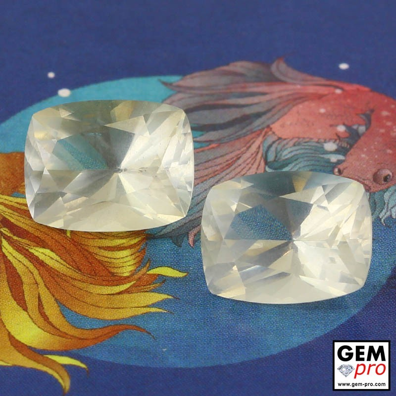 12.32ct Pair White Orthoclase Cushion Cut 13 x 10 mm Natural Gemstone from Madagascar