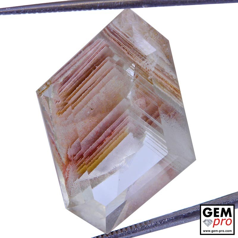 Colorless Quartz with Hematite Growth Phantom 29.81 Carat Fancy from Madagascar Gemstone