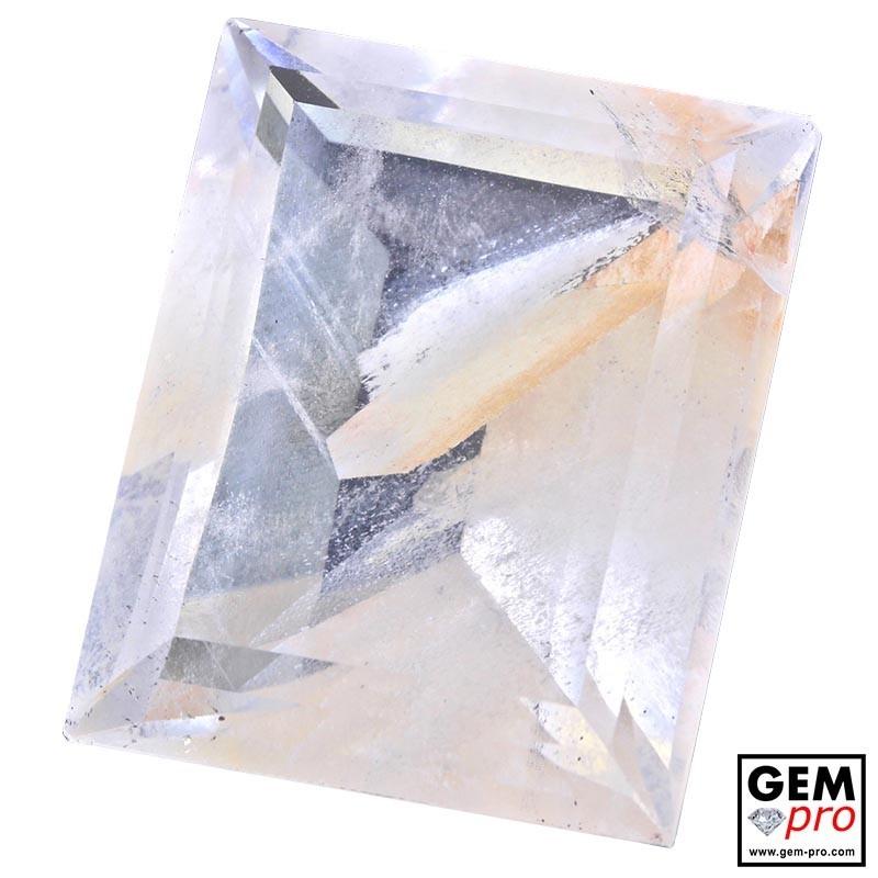 Colorless Hematite Quartz 54.78 Carat Baguette from Madagascar Gemstone