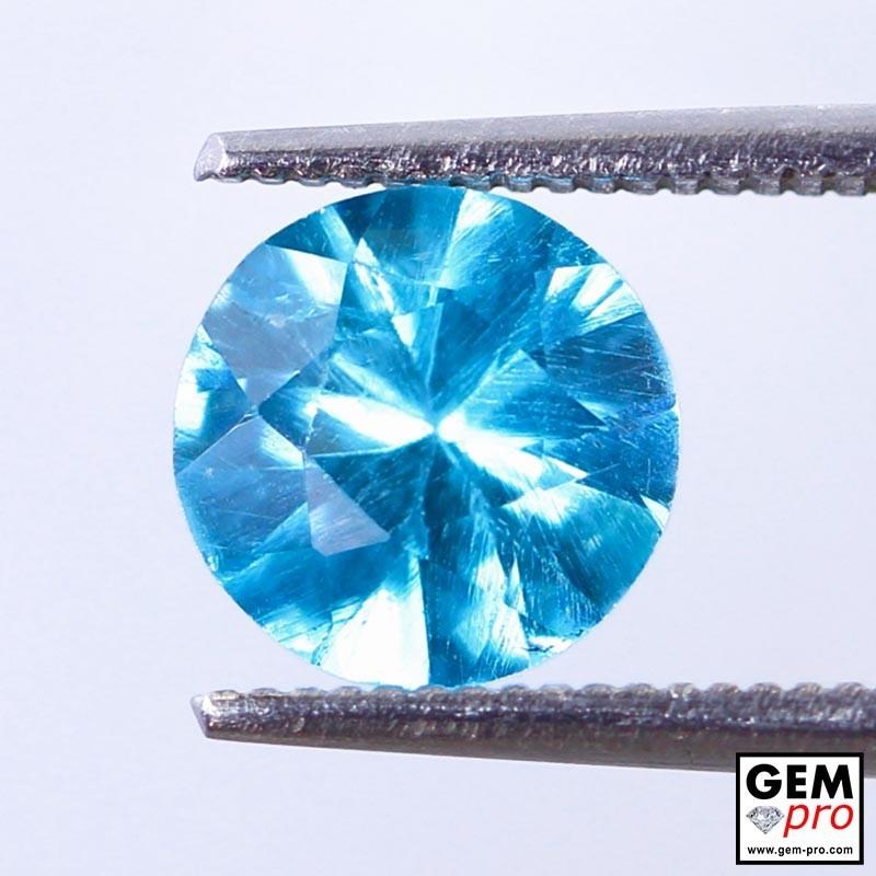 Blue Apatite 1.57 Carat Round Madagascar Gemstone