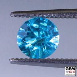 Blue Apatite 0.86 Carat Round Madagascar Gemstone