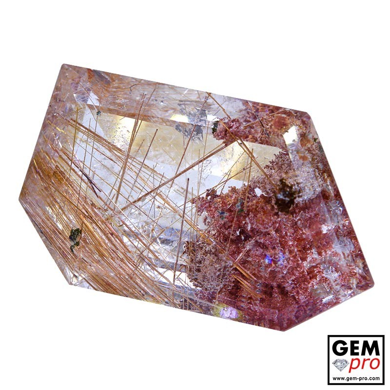 Colorless Rutile Quartz with Hematite 71.71 Carat Fancy from Madagascar Gemstone