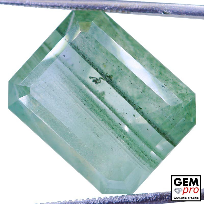 Colorless Quartz with Chlorite worms Inclusions 20.34 Carat Octagon from Madagascar Gemstone