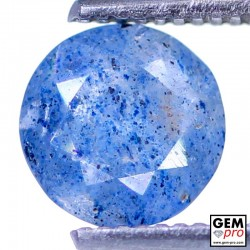 Lazulite in Quartz 1.01 Carat Round from Madagascar Gemstone