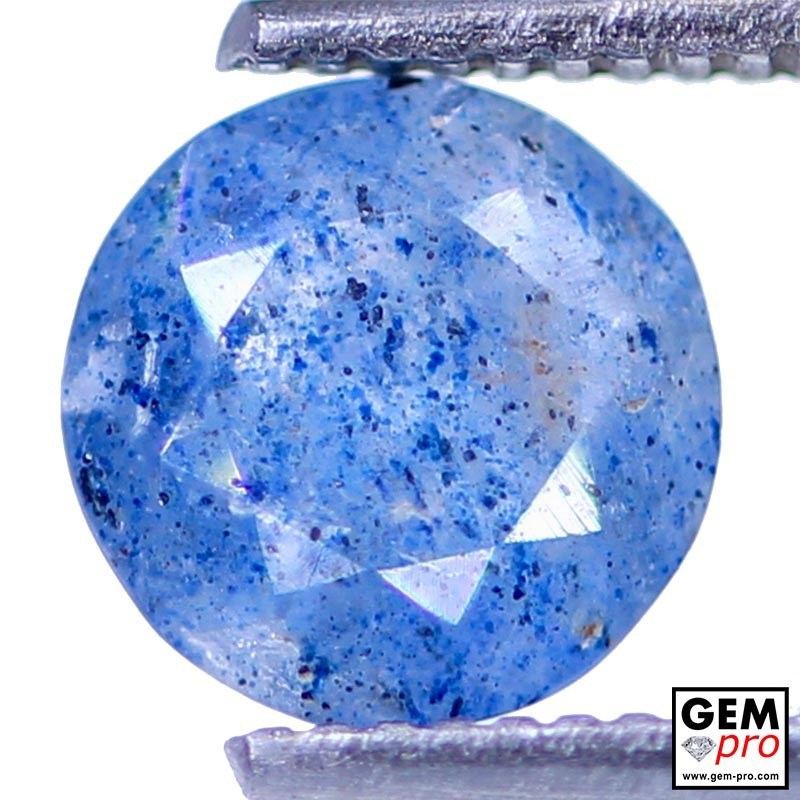 Lazulite in Quartz 1.01 Carat Round from Madagascar Gemstone