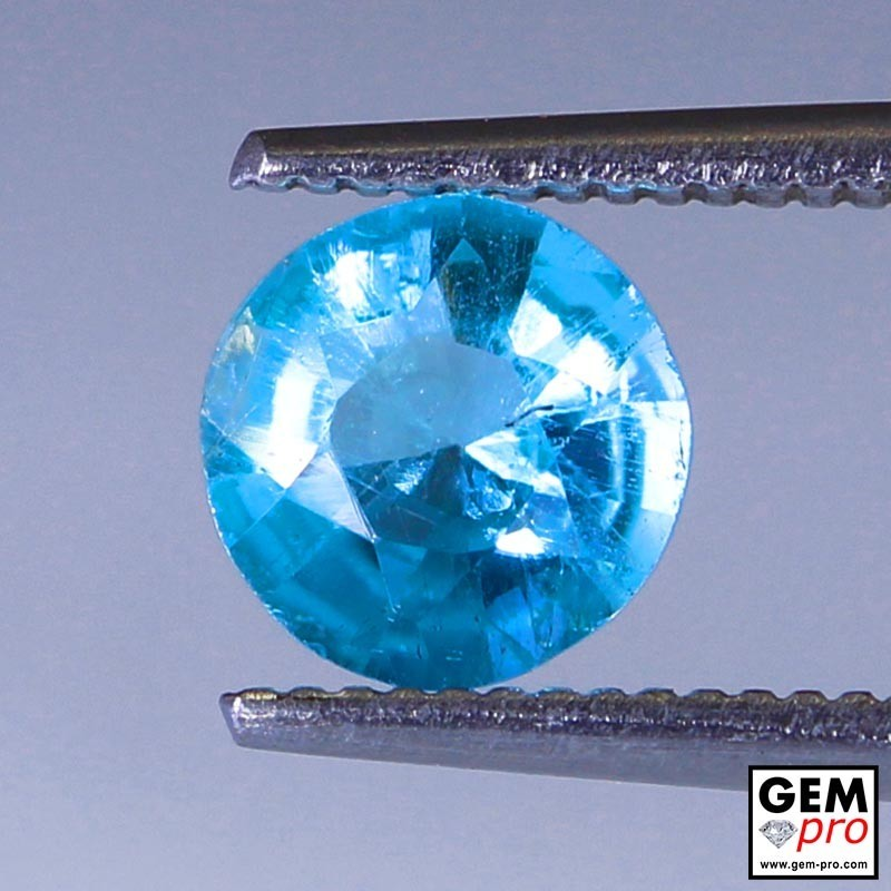 Blue Apatite from Madagascar  0.8 carat 6.1 x 6.1 x 3.3 mm