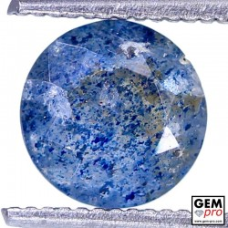 Lazulite in Quartz 1.00 Carat Round from Madagascar Gemstone