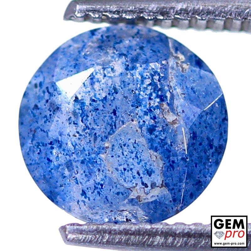 Lazulite in Quartz 1.16 Carat Round from Madagascar Gemstone
