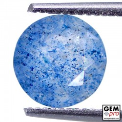 Lazulite in Quartz 1.21 Carat Round from Madagascar Gemstone