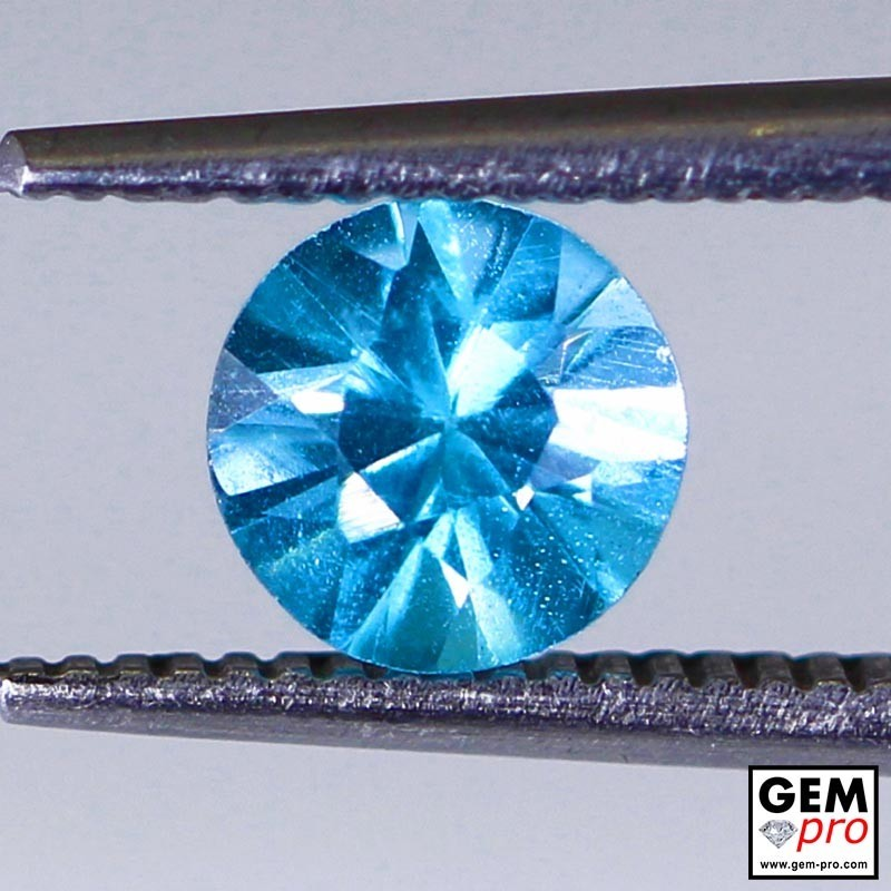 Blue Apatite 0.77 Carat Round Madagascar Gemstone