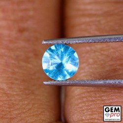 Blue Apatite 0.9 Carat Diamond Round Cut from Madagascar 6.1 x 6.1 x 3.9 mm