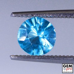 Blue Apatite 0.90 Carat Round Madagascar Gemstone