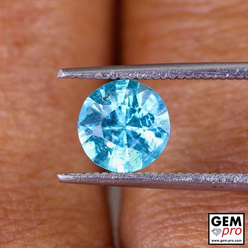 Blue Apatite 1.3 Carat Diamond Round Cut from Madagascar 7.0 x 7.0 x 4.6 mm