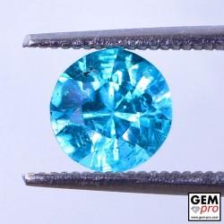 Blue Apatite 1.37 Carat Round Madagascar Gemstone