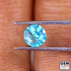 Blue Apatite 1.3 Carat Diamond Round Cut from Madagascar 7.0 x 7.0 x 4.6 mm