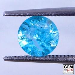 Blue Apatite 1.31 Carat Round Madagascar Gemstone