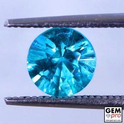 Blue Apatite 1.28 Carat Round Madagascar Gemstone