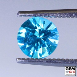 Blue Apatite 0.93 Carat Round Madagascar Gemstone