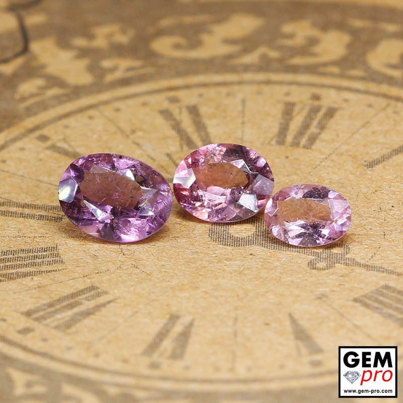 2.24 ct Purplish Pink Tourmaline Gem 3 pcs from Madagascar Natural and Untreated