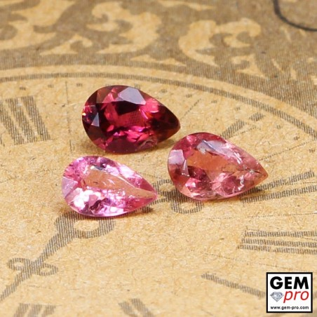 1.64 ct Rose Pink Tourmaline Gem 3 pcs from Madagascar Natural and Untreated